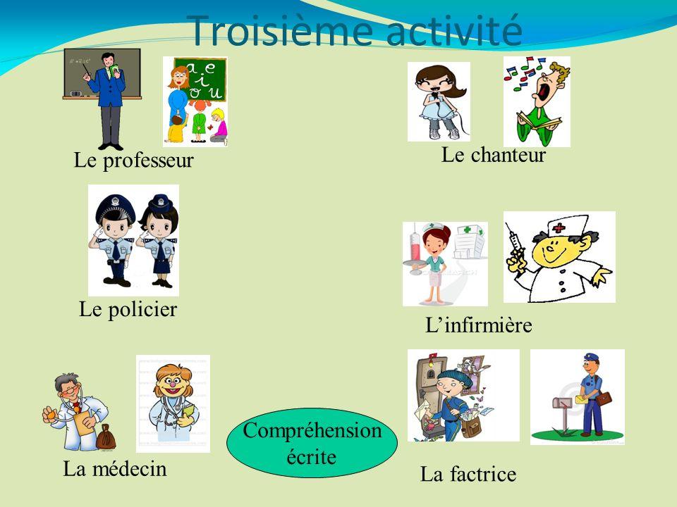 Le professeur Le policier La médecin Le chanteur Linfirmière La factrice Compréhension écrite Troisième activité