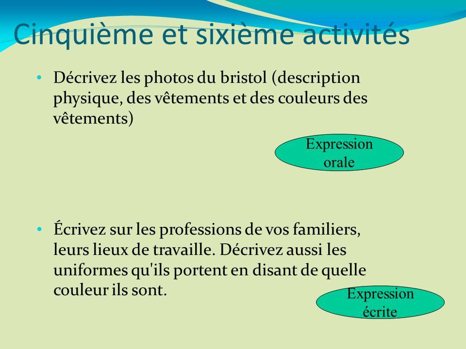 Décrivez les photos du bristol (description physique, des vêtements et des couleurs des vêtements) Écrivez sur les professions de vos familiers, leurs
