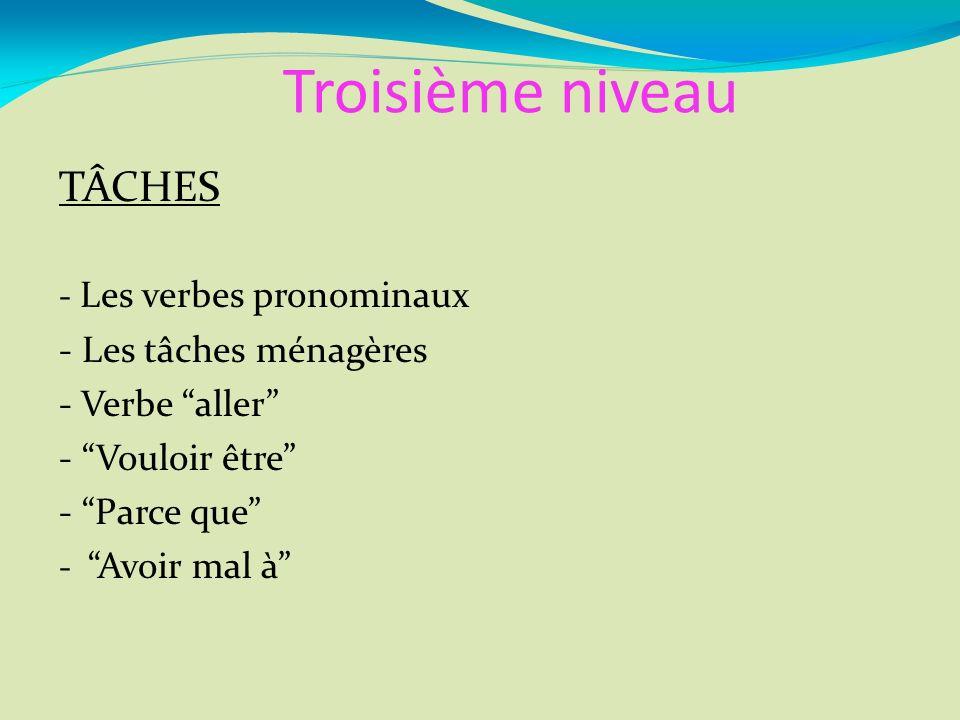 Troisième niveau TÂCHES - Les verbes pronominaux - Les tâches ménagères - Verbe aller - Vouloir être - Parce que - Avoir mal à