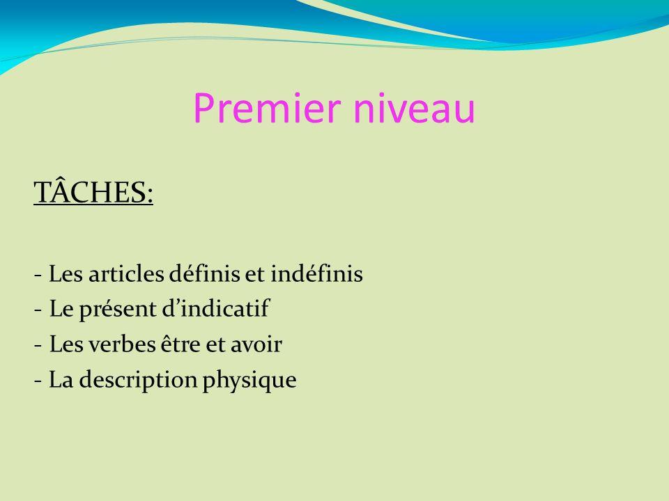 Premier niveau TÂCHES: - Les articles définis et indéfinis - Le présent dindicatif - Les verbes être et avoir - La description physique