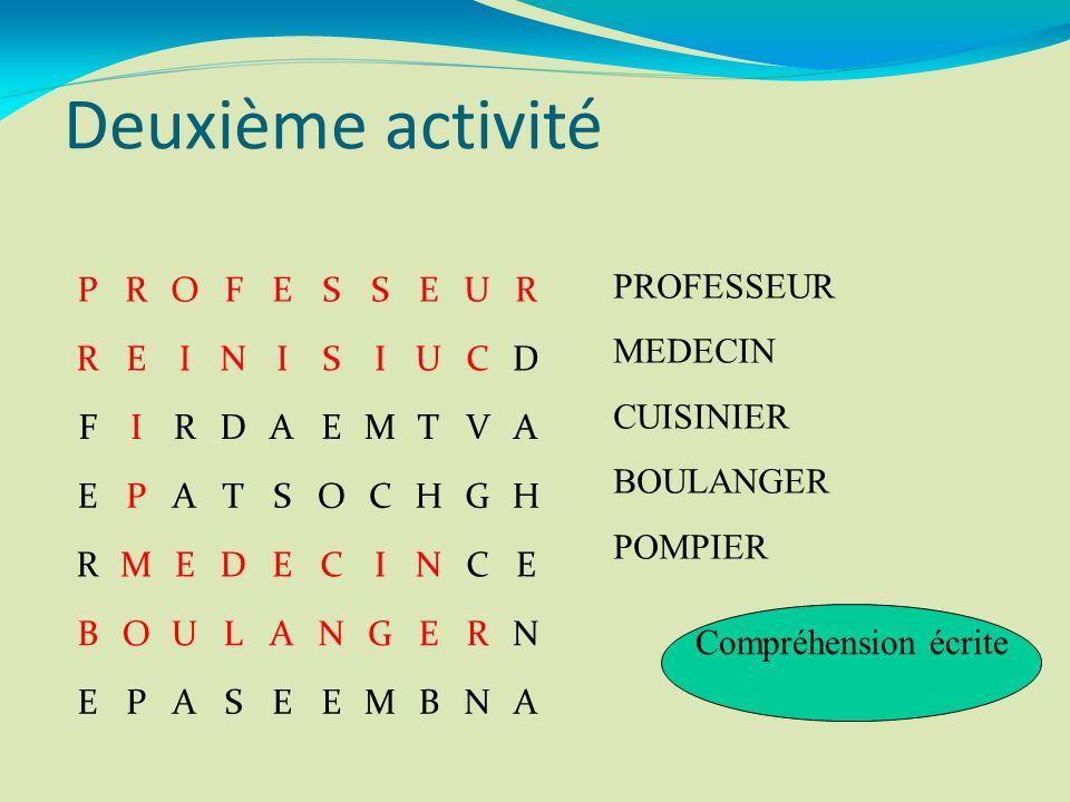 Deuxième activité PROFESSEUR REINISIUCD FIRDAEMTVA EPATSOCHGH RMEDECINCE BOULANGERN EPASEEMBNA PROFESSEUR MEDECIN CUISINIER BOULANGER POMPIER Compréhe