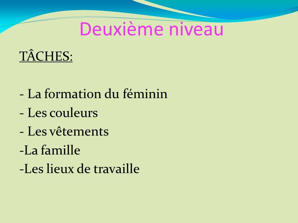 Deuxième niveau TÂCHES: - La formation du féminin - Les couleurs - Les vêtements -La famille -Les lieux de travaille
