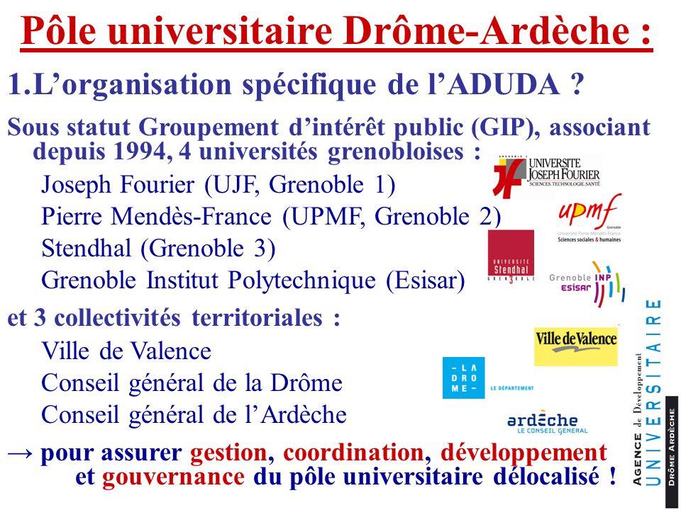 Pôle universitaire Drôme-Ardèche : 1.Lorganisation spécifique de lADUDA ? Sous statut Groupement dintérêt public (GIP), associant depuis 1994, 4 unive