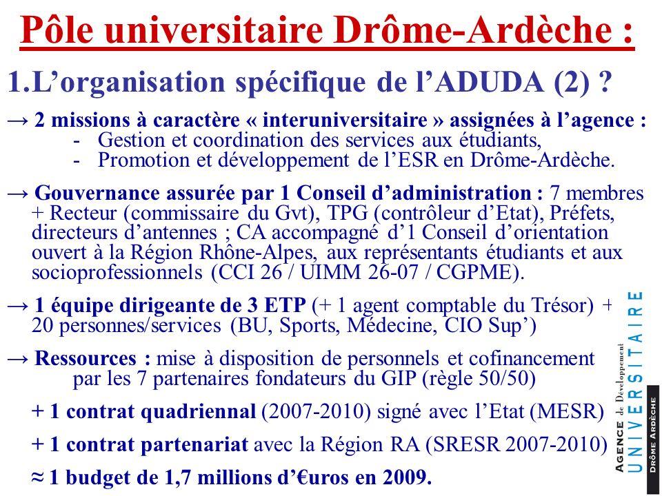 Pôle universitaire Drôme-Ardèche : 1.Lorganisation spécifique de lADUDA (2) ? 2 missions à caractère « interuniversitaire » assignées à lagence : -Ges