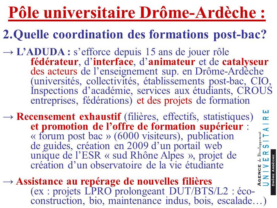 Pôle universitaire Drôme-Ardèche : 2.Quelle coordination des formations post-bac? LADUDA : sefforce depuis 15 ans de jouer rôle fédérateur, dinterface