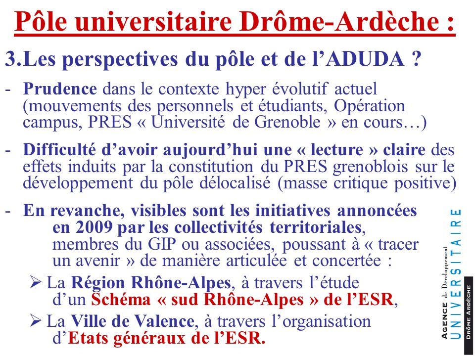 Pôle universitaire Drôme-Ardèche : 3.Les perspectives du pôle et de lADUDA ? -Prudence dans le contexte hyper évolutif actuel (mouvements des personne