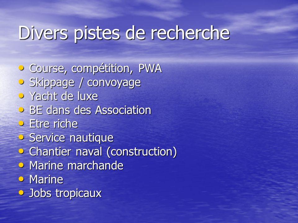 Divers pistes de recherche Course, compétition, PWA Course, compétition, PWA Skippage / convoyage Skippage / convoyage Yacht de luxe Yacht de luxe BE