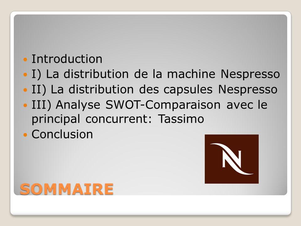 SOMMAIRE Introduction I) La distribution de la machine Nespresso II) La distribution des capsules Nespresso III) Analyse SWOT-Comparaison avec le prin