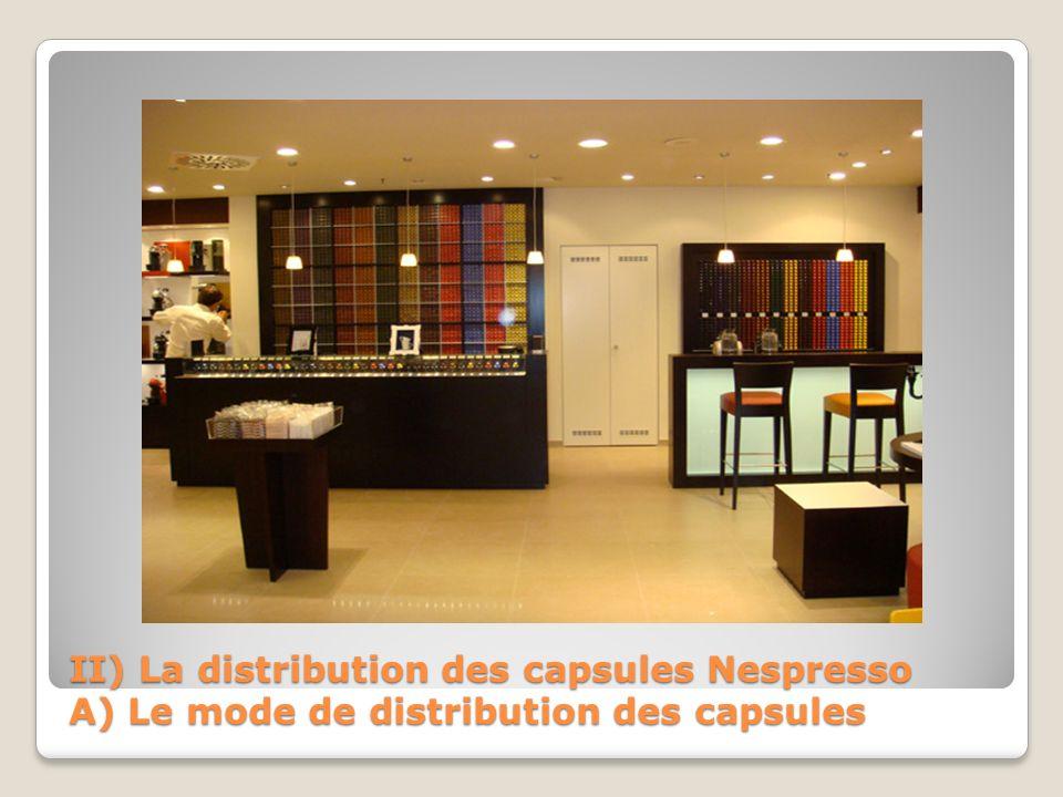 II) La distribution des capsules Nespresso B) Les raisons 2 Méthodes de vente Vente Visuelle: Libre service assisté Vente à Distance: Téléphone, Internet Circuit Ultra-court CONSOMMATEURS Soci é t é de transport Ind é pendante NESPRESSO DETAILLANTS NESPRESSO PRODUCTEURS
