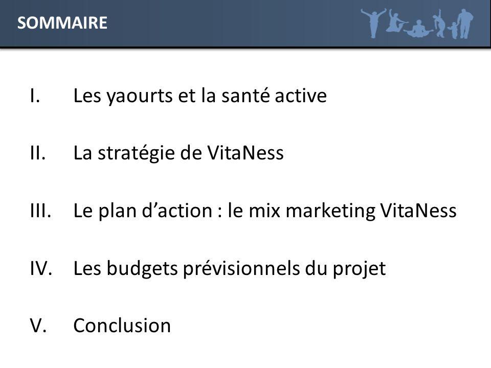 I.Les yaourts et la santé active II.La stratégie de VitaNess III.Le plan daction : le mix marketing VitaNess IV.Les budgets prévisionnels du projet V.