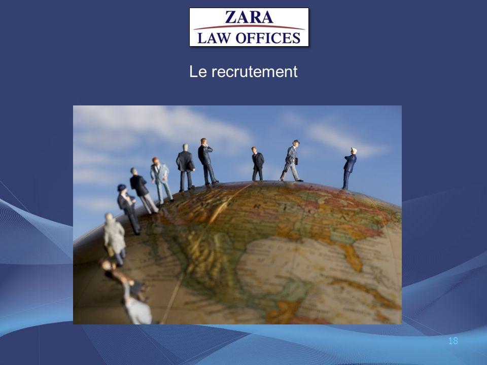 Le recrutement 18