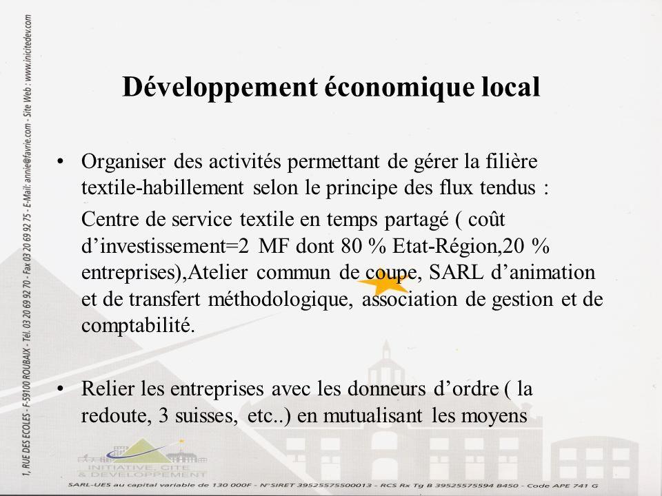Développement économique local Organiser des activités permettant de gérer la filière textile-habillement selon le principe des flux tendus : Centre d