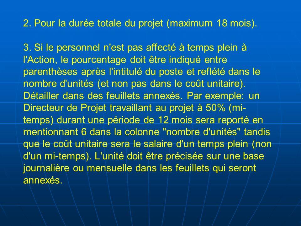 2. Pour la durée totale du projet (maximum 18 mois). 3. Si le personnel n'est pas affecté à temps plein à l'Action, le pourcentage doit être indiqué e