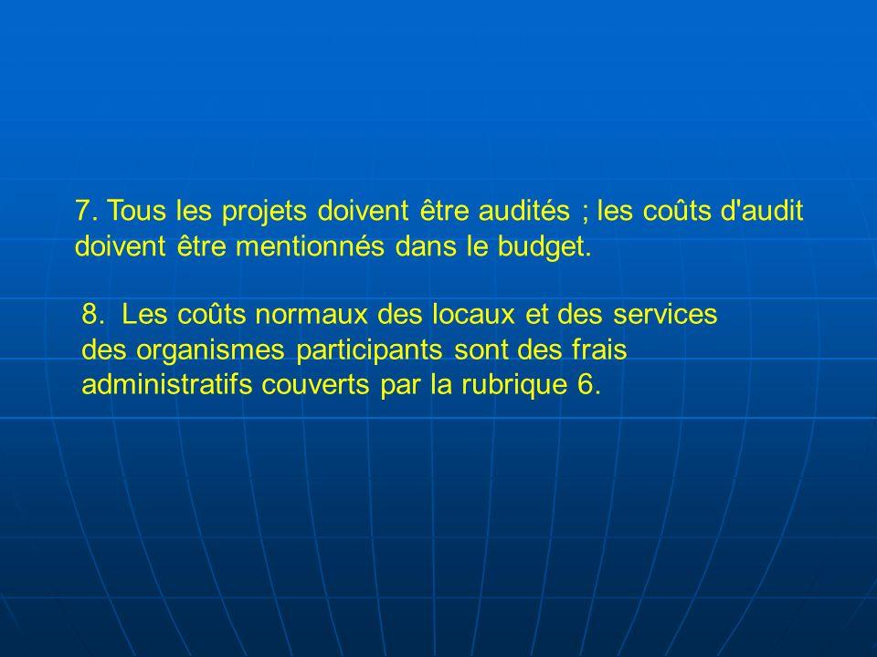 7. Tous les projets doivent être audités ; les coûts d'audit doivent être mentionnés dans le budget. 8. Les coûts normaux des locaux et des services d