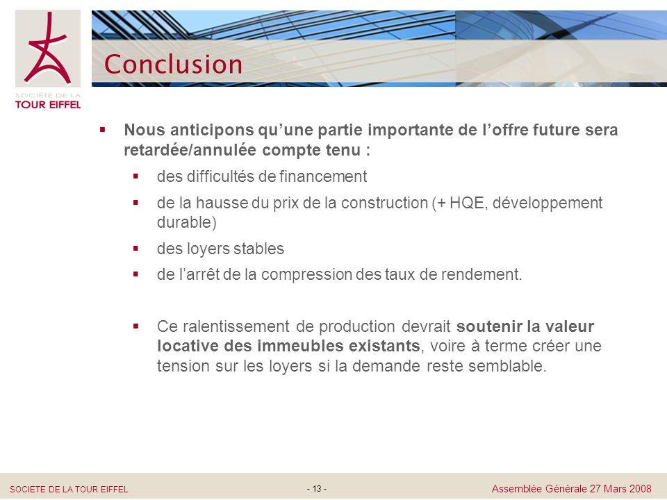 SOCIETE DE LA TOUR EIFFEL Assemblée Générale 27 Mars 2008 - 13 - Conclusion Nous anticipons quune partie importante de loffre future sera retardée/ann