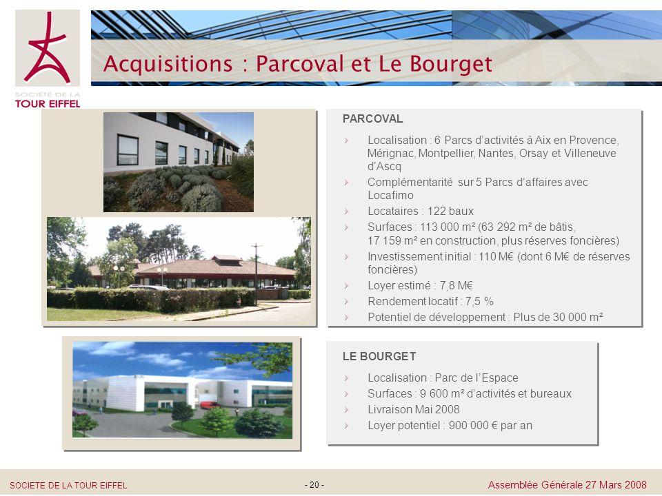 SOCIETE DE LA TOUR EIFFEL Assemblée Générale 27 Mars 2008 - 20 - Acquisitions : Parcoval et Le Bourget PARCOVAL Localisation : 6 Parcs dactivités à Ai