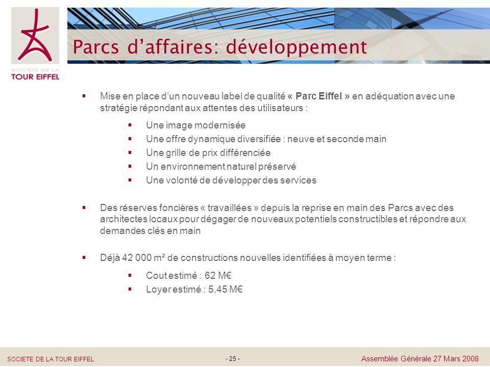 SOCIETE DE LA TOUR EIFFEL Assemblée Générale 27 Mars 2008 - 25 - Parcs daffaires: développement Mise en place dun nouveau label de qualité « Parc Eiff