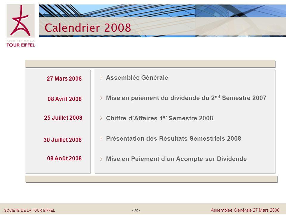 SOCIETE DE LA TOUR EIFFEL Assemblée Générale 27 Mars 2008 - 32 - Calendrier 2008 Mise en paiement du dividende du 2 nd Semestre 2007 Assemblée Général