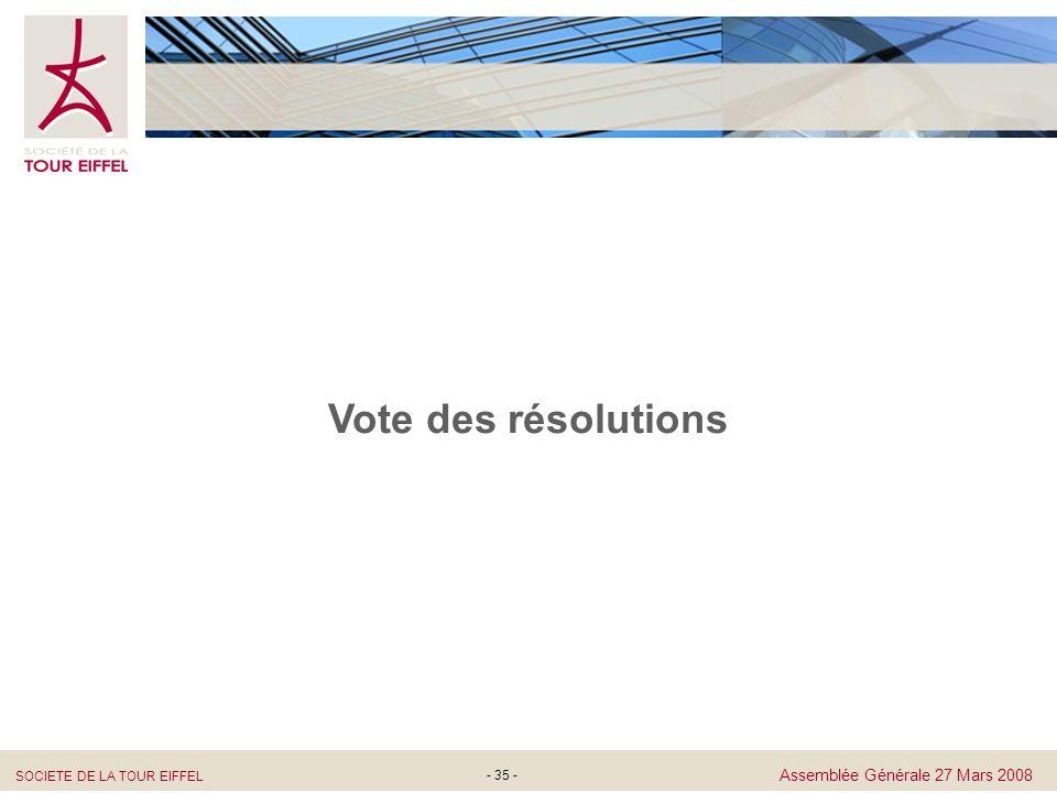 SOCIETE DE LA TOUR EIFFEL Assemblée Générale 27 Mars 2008 - 35 - Vote des résolutions