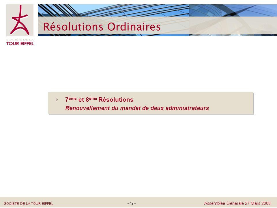 SOCIETE DE LA TOUR EIFFEL Assemblée Générale 27 Mars 2008 - 42 - Résolutions Ordinaires 7 ème et 8 ème Résolutions Renouvellement du mandat de deux ad
