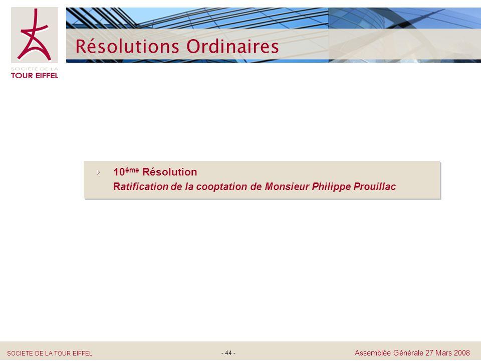 SOCIETE DE LA TOUR EIFFEL Assemblée Générale 27 Mars 2008 - 44 - Résolutions Ordinaires 10 ème Résolution Ratification de la cooptation de Monsieur Ph