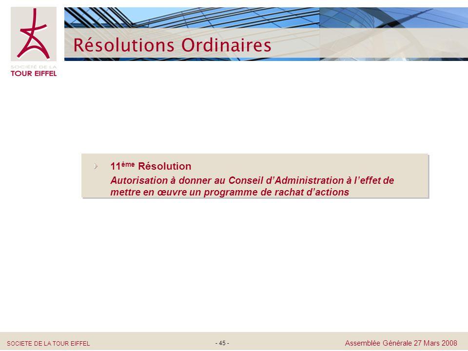 SOCIETE DE LA TOUR EIFFEL Assemblée Générale 27 Mars 2008 - 45 - Résolutions Ordinaires 11 ème Résolution Autorisation à donner au Conseil dAdministra