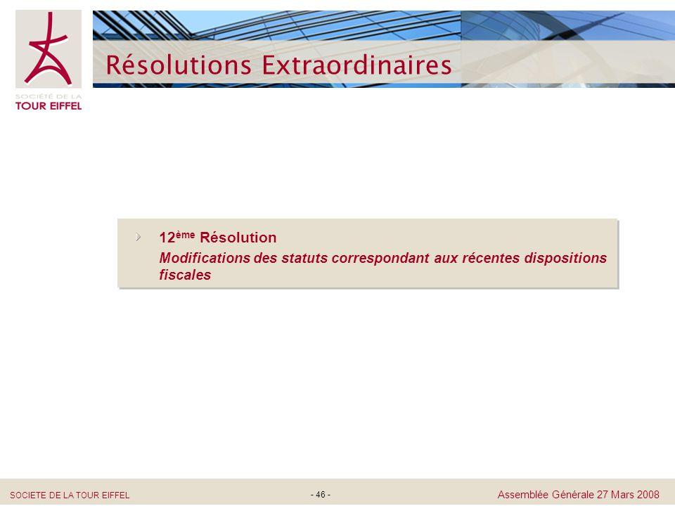 SOCIETE DE LA TOUR EIFFEL Assemblée Générale 27 Mars 2008 Résolutions Extraordinaires - 46 - 12 ème Résolution Modifications des statuts correspondant