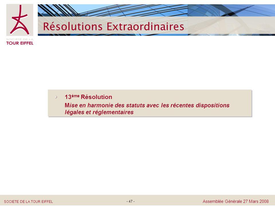 SOCIETE DE LA TOUR EIFFEL Assemblée Générale 27 Mars 2008 Résolutions Extraordinaires - 47 - 13 ème Résolution Mise en harmonie des statuts avec les r