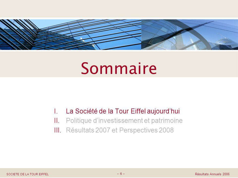 SOCIETE DE LA TOUR EIFFEL Assemblée Générale 27 Mars 2008 I.La Société de la Tour Eiffel aujourdhui II.Politique dinvestissement et patrimoine III.Rés