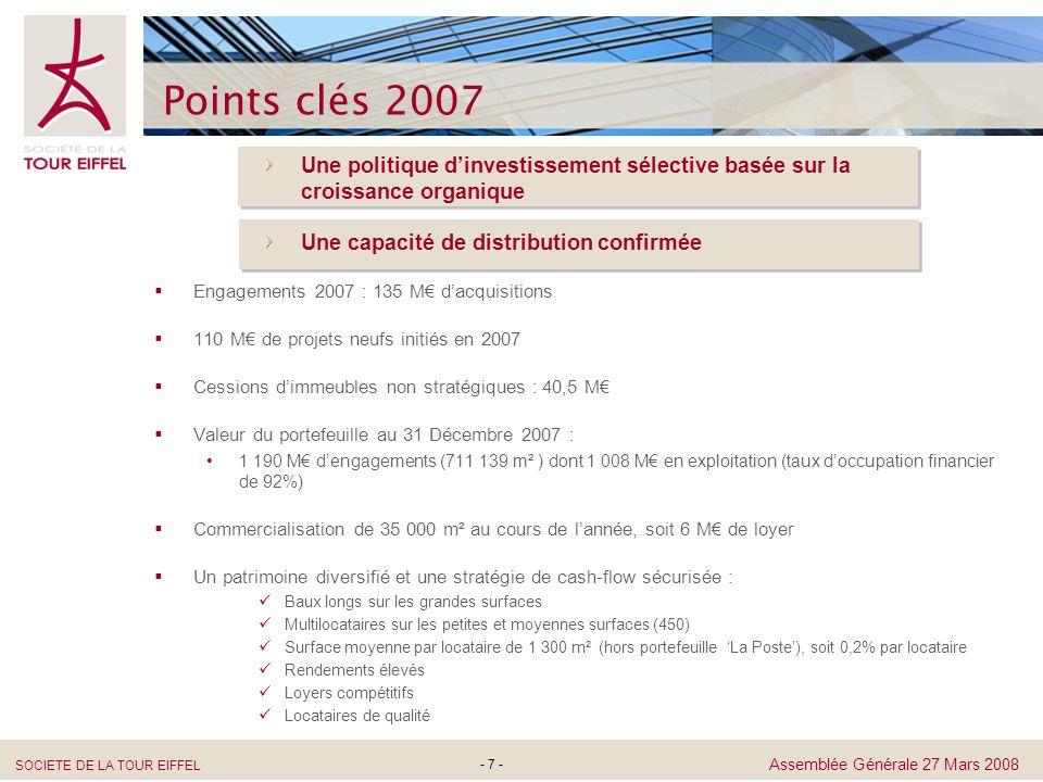 SOCIETE DE LA TOUR EIFFEL Assemblée Générale 27 Mars 2008 - 28 - Bilan consolidé (en M) Passif 20062007 Capital & Réserves Résultat Emprunts Autres dettes Total Passif 292,9 117,9 481,7 62,8 955,3 379,9 91,6 628,3 70,7 1 170,5 Actif 20062007 Immeubles de placement Immobilisations corporelles (en cours de construction) Créances Trésorerie Total Actif 825,5 41,5 47,2 37,4 955,3 Immobilisations incorporelles 3,7 74,9 1 007,9 3,0 46,2 38,5 1 170,5