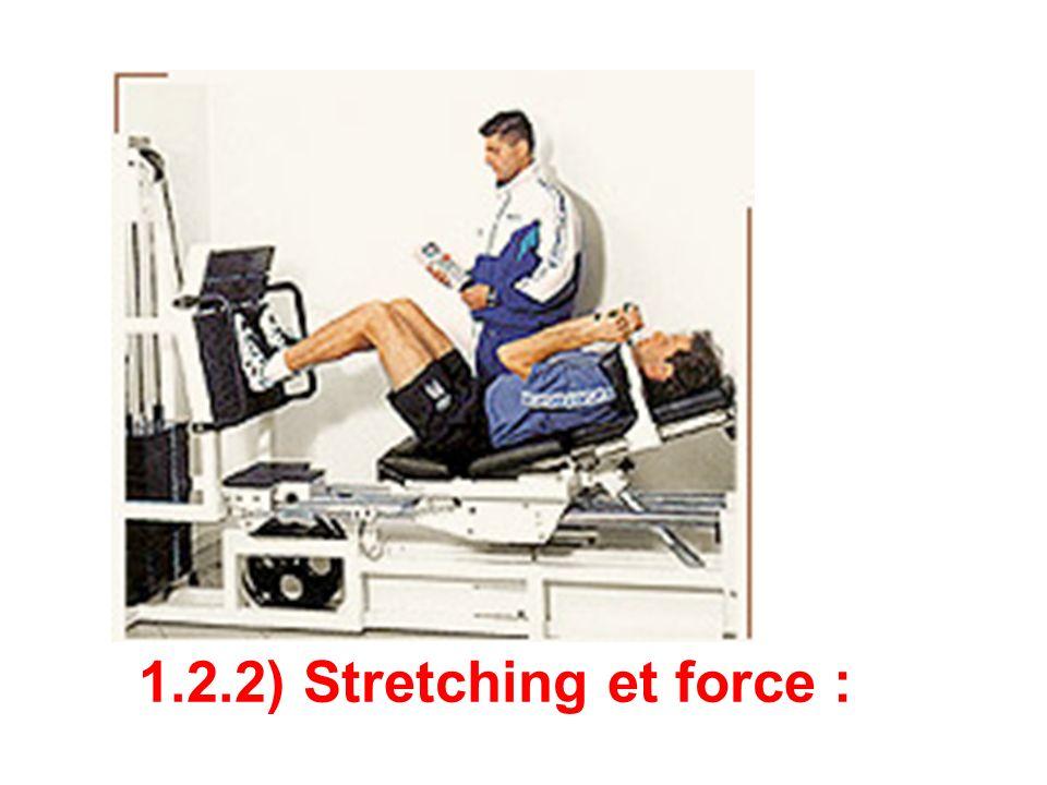 Kokkonen et Coll (1998) expérimentent leffet de lintroduction de 2 protocoles de stretching dans léchauffement dun test de 1 Répétition Maximale (1 RM) pour les extenseurs et les fléchisseurs du genou.