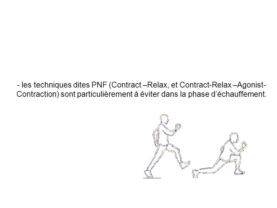 - les exercices de vascularisation (contractions dynamiques (et non isométriques) contre résistance) à base dalternance contraction-relâchement pour faire « pomper » le muscle doivent impérativement accompagner le peu détirements tolérés.