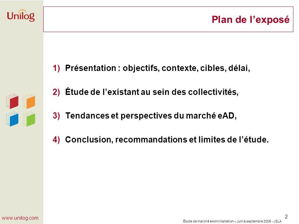 Étude de marché eAdministration – Juin à septembre 2005 - JSLA 2 www.unilog.com Plan de lexposé 1)Présentation : objectifs, contexte, cibles, délai, 2