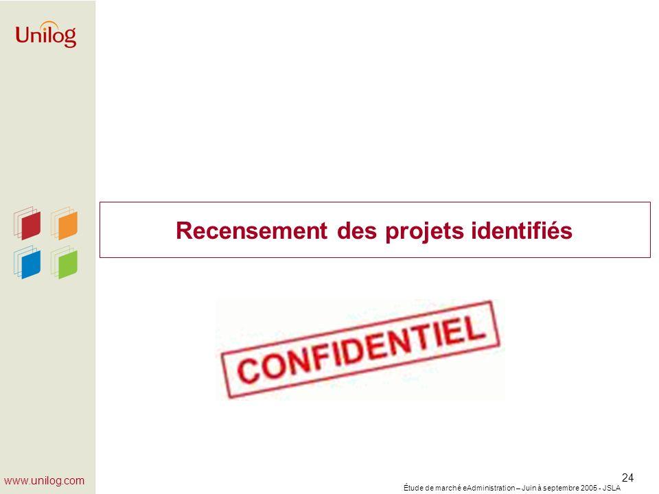 Étude de marché eAdministration – Juin à septembre 2005 - JSLA 24 www.unilog.com Recensement des projets identifiés