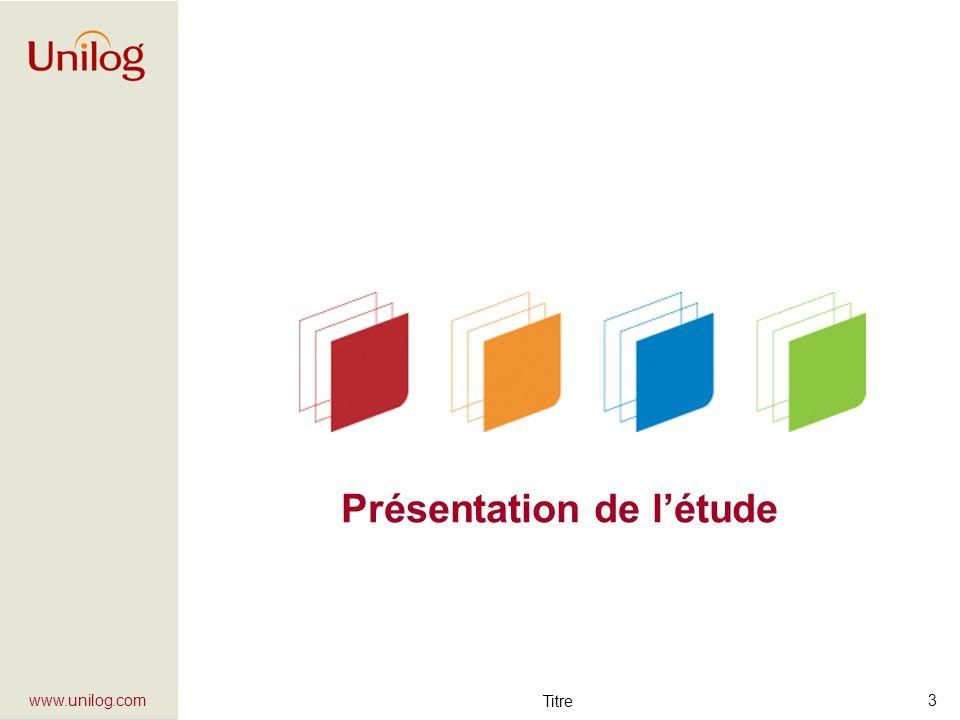 Étude de marché eAdministration – Juin à septembre 2005 - JSLA 4 www.unilog.com Présentation de létude (1) Objectifs: 1)Identifier les comportements, besoins et attentes des collectivités, 2)Déterminer la potentialité du marché et ses « angles dattaque », 3)Recenser les projets deAdministration entre 2005 et 2007.