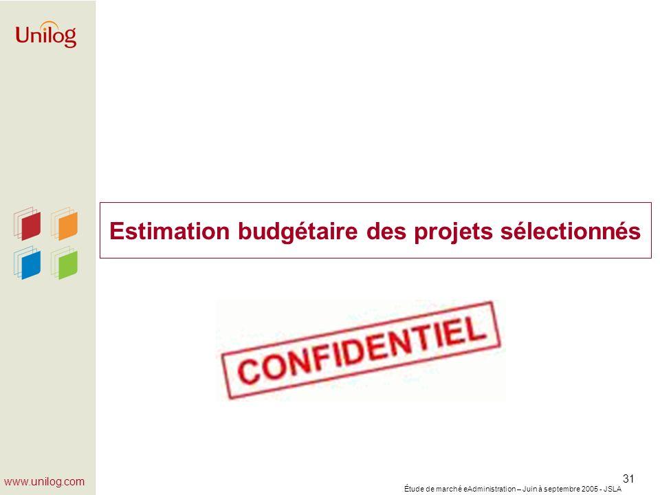 Étude de marché eAdministration – Juin à septembre 2005 - JSLA 31 www.unilog.com Estimation budgétaire des projets sélectionnés