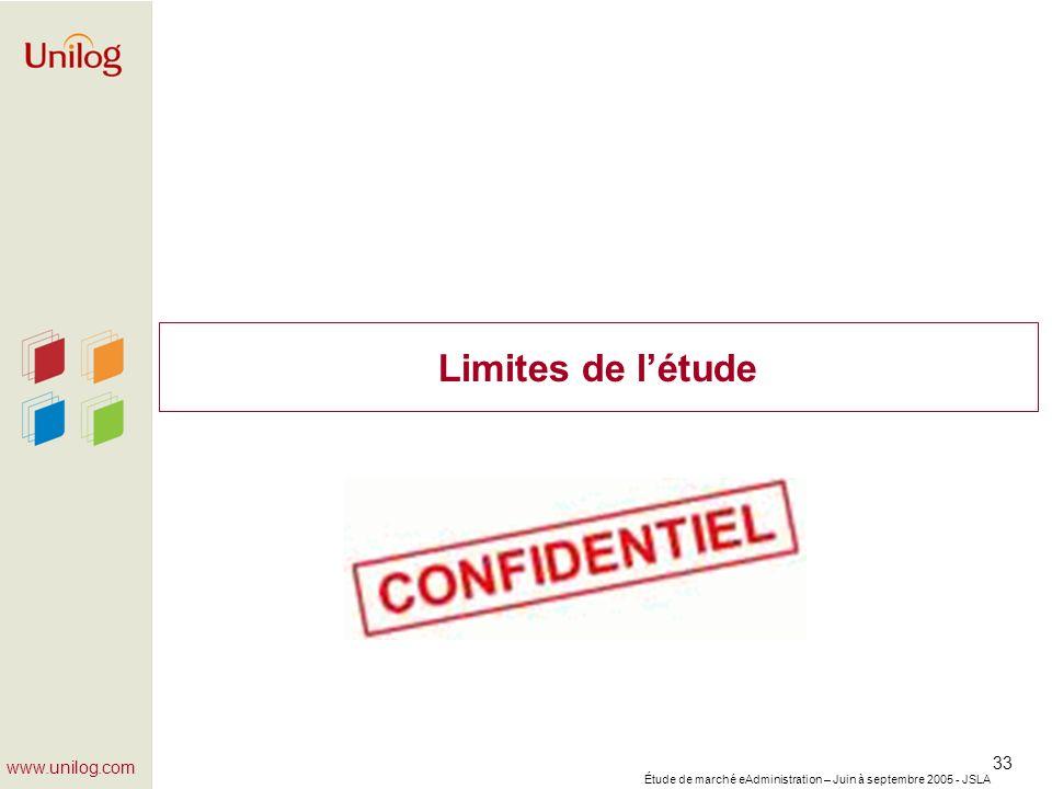 Étude de marché eAdministration – Juin à septembre 2005 - JSLA 33 www.unilog.com Limites de létude