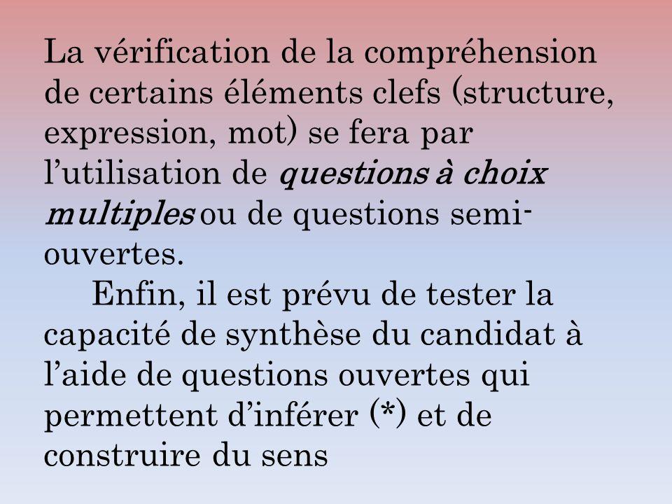 La vérification de la compréhension de certains éléments clefs (structure, expression, mot) se fera par lutilisation de questions à choix multiples ou