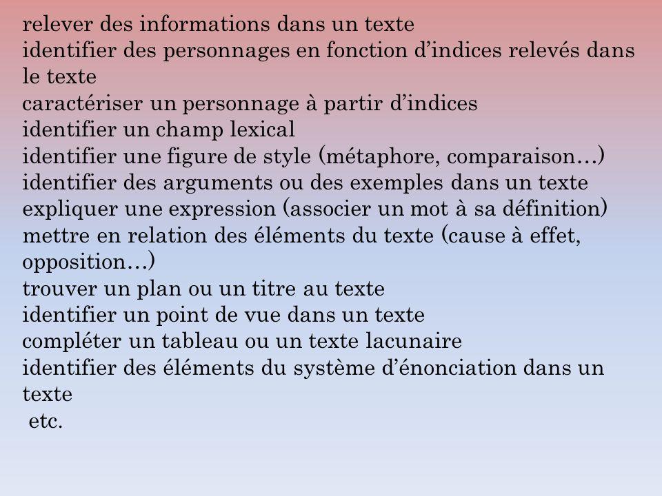 relever des informations dans un texte identifier des personnages en fonction dindices relevés dans le texte caractériser un personnage à partir dindi