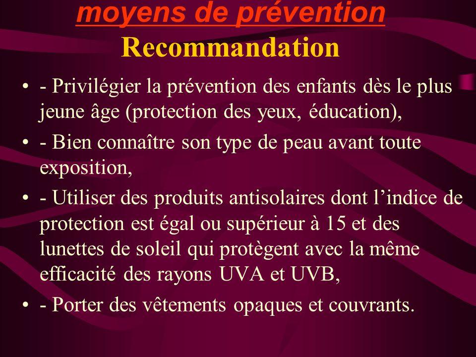 moyens de prévention Recommandation - Privilégier la prévention des enfants dès le plus jeune âge (protection des yeux, éducation), - Bien connaître s