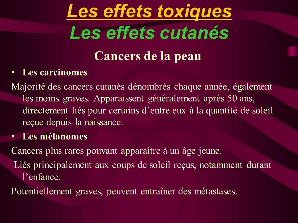 Les effets toxiques Les effets cutanés Cancers de la peau Les carcinomes Majorité des cancers cutanés dénombrés chaque année, également les moins grav