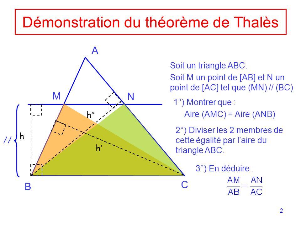 2 Démonstration du théorème de Thalès A B C M N h // Soit un triangle ABC. Soit M un point de [AB] et N un point de [AC] tel que (MN) // (BC) 1°) Mont