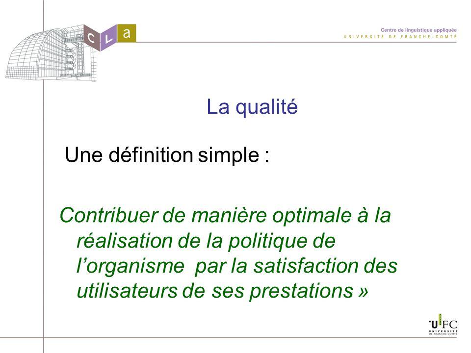 La qualité Une définition simple : Contribuer de manière optimale à la réalisation de la politique de lorganisme par la satisfaction des utilisateurs