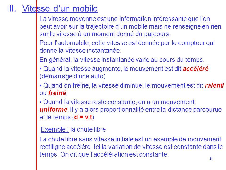 6 III.Vitesse dun mobile La vitesse moyenne est une information intéressante que lon peut avoir sur la trajectoire dun mobile mais ne renseigne en rie