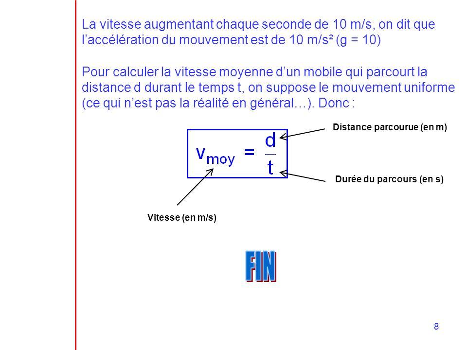 8 La vitesse augmentant chaque seconde de 10 m/s, on dit que laccélération du mouvement est de 10 m/s² (g = 10) Pour calculer la vitesse moyenne dun m