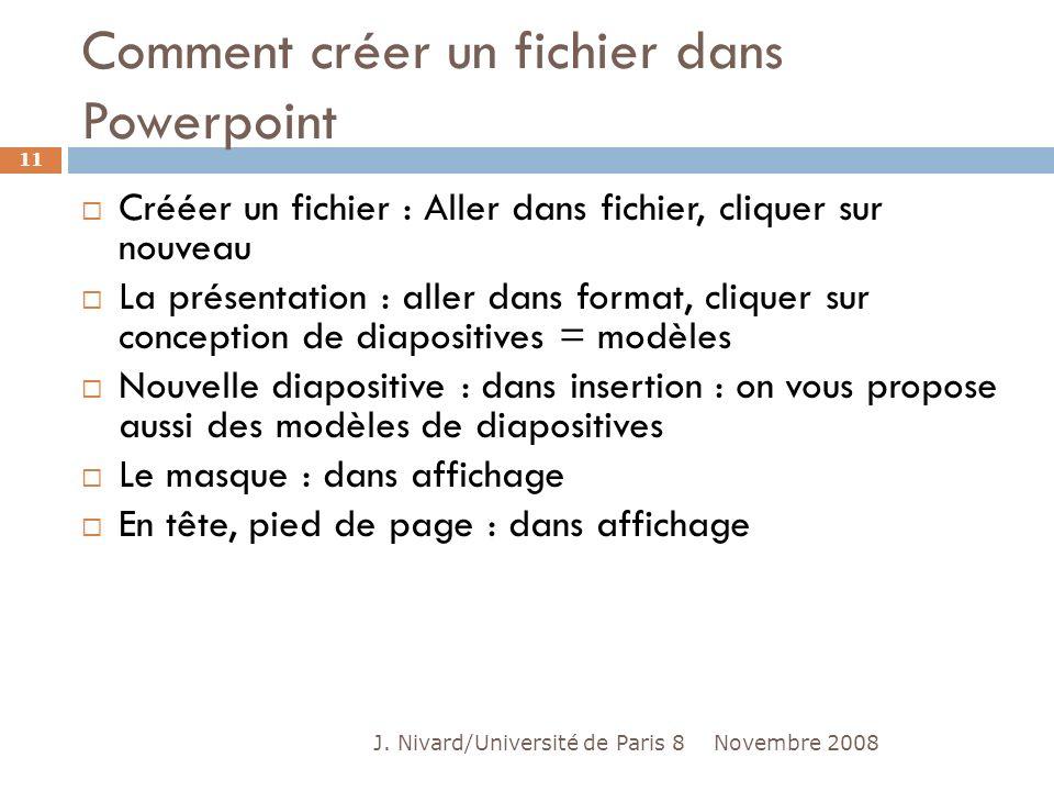 Comment créer un fichier dans Powerpoint Crééer un fichier : Aller dans fichier, cliquer sur nouveau La présentation : aller dans format, cliquer sur