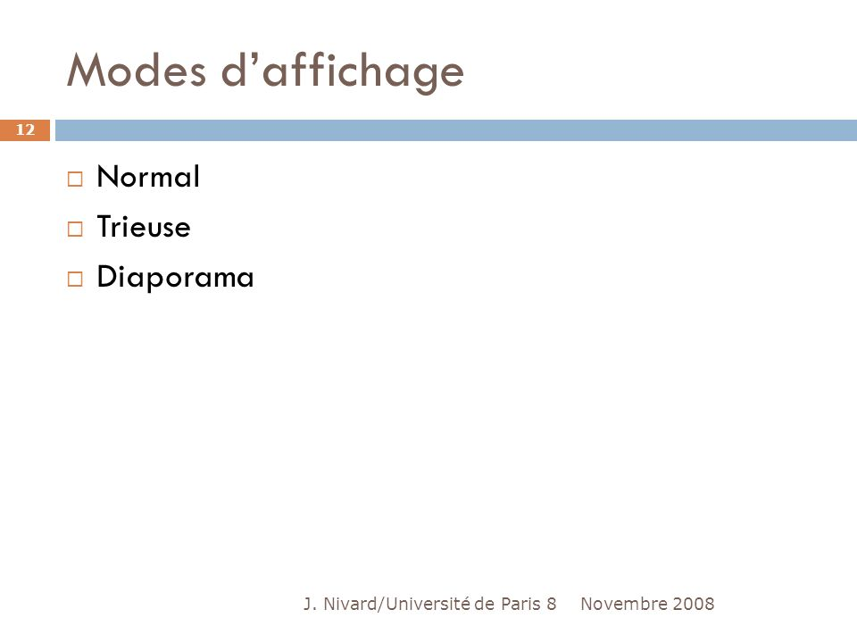 Modes daffichage Normal Trieuse Diaporama Novembre 2008 12 J. Nivard/Université de Paris 8