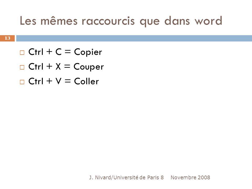Les mêmes raccourcis que dans word Ctrl + C = Copier Ctrl + X = Couper Ctrl + V = Coller Novembre 2008 13 J. Nivard/Université de Paris 8