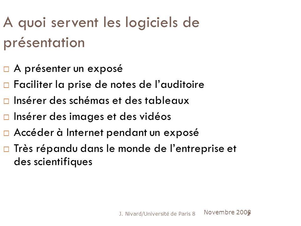 J. Nivard/Université de Paris 82 A quoi servent les logiciels de présentation A présenter un exposé Faciliter la prise de notes de lauditoire Insérer