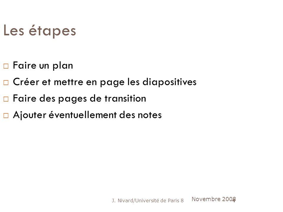 J. Nivard/Université de Paris 84 Les étapes Faire un plan Créer et mettre en page les diapositives Faire des pages de transition Ajouter éventuellemen